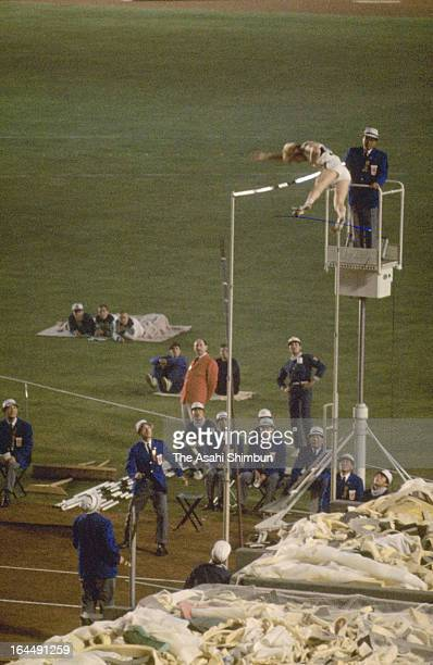 Wolfgang Reinhardt of Germany competes in the Men's Pole Vault Final during the Tokyo Olympic at the National Stadium on October 17 1964 in Tokyo...