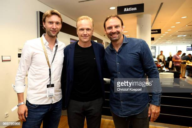 Wolfgang Rolff Carsten Ramelow and Jens Nowotny pose during the Club Of Former National Players Meeting at BayArena on June 8 2018 in Leverkusen...