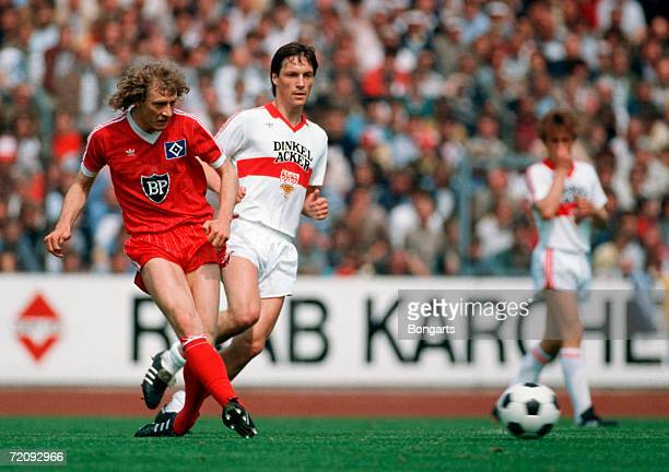 Wolfgang Rolff of Hamburg in action during the Bundesliga match between VfB Stuttgart and Hamburger SV at the Neckarstadium on May 26 1984 in...