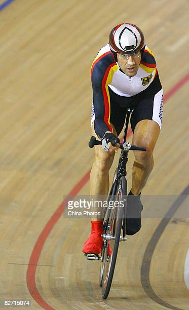 Wolfgang Sacher of Germany in action during the Men's Individual Pursuit Final during the Track Cycling event at the Laoshan Velodrome during day two...