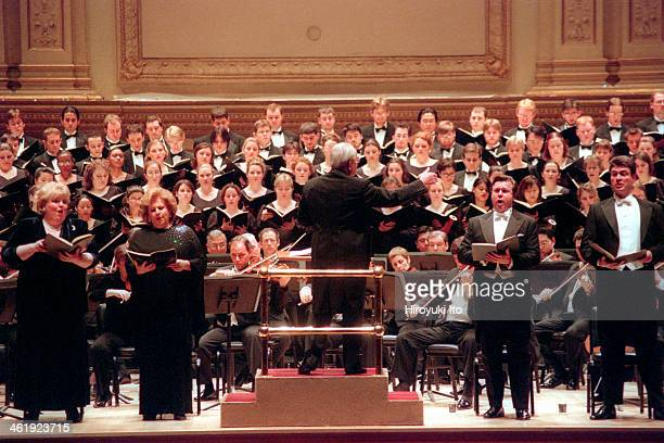 Wolfgang Sawallisch leading the Philadelphia Orchestra in Beethoven's 'Missa Solemnis' at Carnegie Hall on Monday night February 5 2001This...