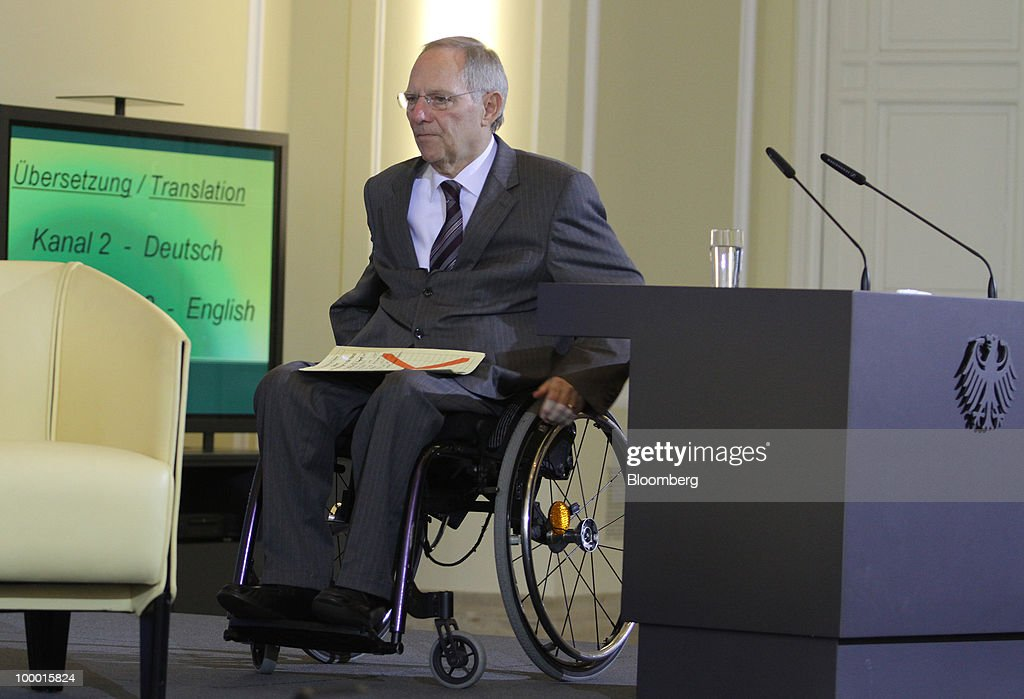 Wolfgang Schaeuble, Germany's finance minister, leaves the International Financial Market Regulation conference, in Berlin, Germany, on Thursday, May 20, 2010. German Chancellor Angela Merkel reached out to financial markets ahead of tomorrow's vote on Germany's share of a $1 trillion euro bailout, saying she needs 'honest' advice as her government presses for tougher global regulation. Photographer: Michele Tantussi/Bloomberg via Getty Images