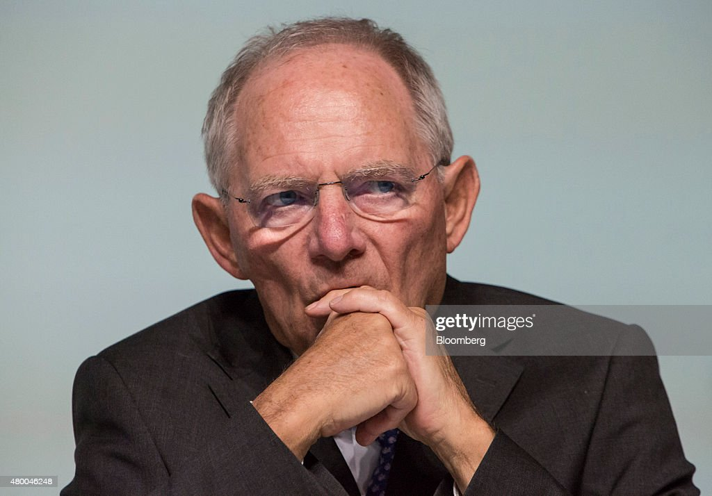Wolfgang Schaeuble, Germany's finance minister, looks on as he addresses a Deutsche Bundesbank conference in Frankfurt, Germany, on Thursday, July 9, 2015. Schaeuble says he told Greece 'just do it' with regard to outlining latest aid proposals. Photographer: Martin Leissl/Bloomberg via Getty Images