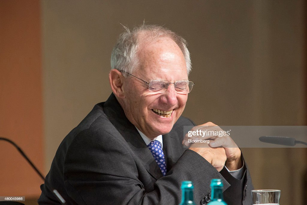 Wolfgang Schaeuble, Germany's finance minister, reacts as he addresses a Deutsche Bundesbank conference in Frankfurt, Germany, on Thursday, July 9, 2015. Schaeuble says he told Greece 'just do it' with regard to outlining latest aid proposals. Photographer: Martin Leissl/Bloomberg via Getty Images