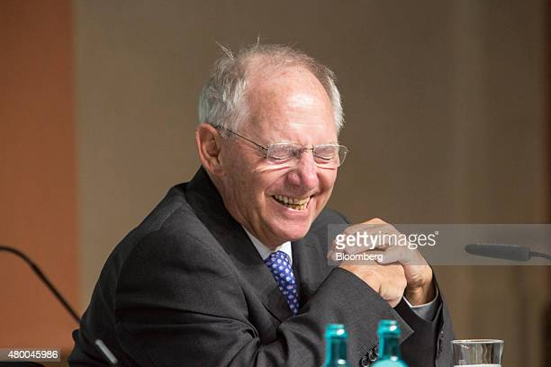 Wolfgang Schaeuble Germany's finance minister reacts as he addresses a Deutsche Bundesbank conference in Frankfurt Germany on Thursday July 9 2015...