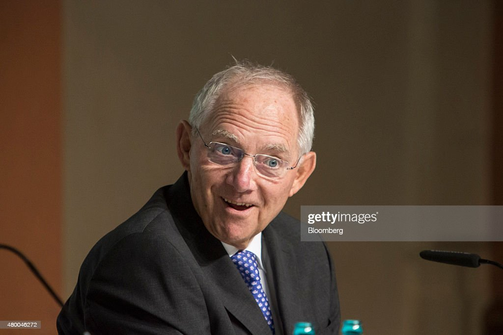 Wolfgang Schaeuble, Germany's finance minister, speaks as he addresses a Deutsche Bundesbank conference in Frankfurt, Germany, on Thursday, July 9, 2015. Schaeuble says he told Greece 'just do it' with regard to outlining latest aid proposals. Photographer: Martin Leissl/Bloomberg via Getty Images