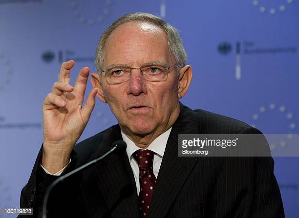 Wolfgang Schaeuble Germany's finance minister speaks during a joint press conference with Christine Lagarde France's finance minister unseen...
