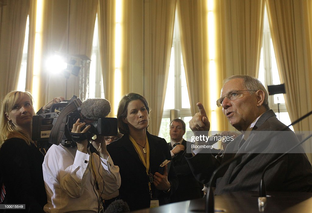 Wolfgang Schaeuble, Germany's finance minister, speaks to journalists at the International Financial Market Regulation conference, in Berlin, Germany, on Thursday, May 20, 2010. German Chancellor Angela Merkel reached out to financial markets ahead of tomorrow's vote on Germany's share of a $1 trillion euro bailout, saying she needs 'honest' advice as her government presses for tougher global regulation. Photographer: Michele Tantussi/Bloomberg via Getty Images