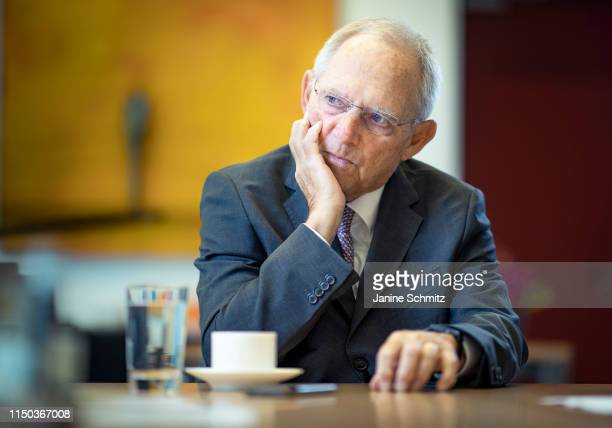 Wolfgang Schaeuble President of the Bundestag is pictured during an interview on May 22 2019 in Berlin Germany