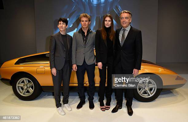 Wolfgang Schattling, Collier Schorr, Nico Rosberg and Dree Hemingway attend the Mercedes-Benz Press Vernissage during the Mercedes-Benz Fashion Week...