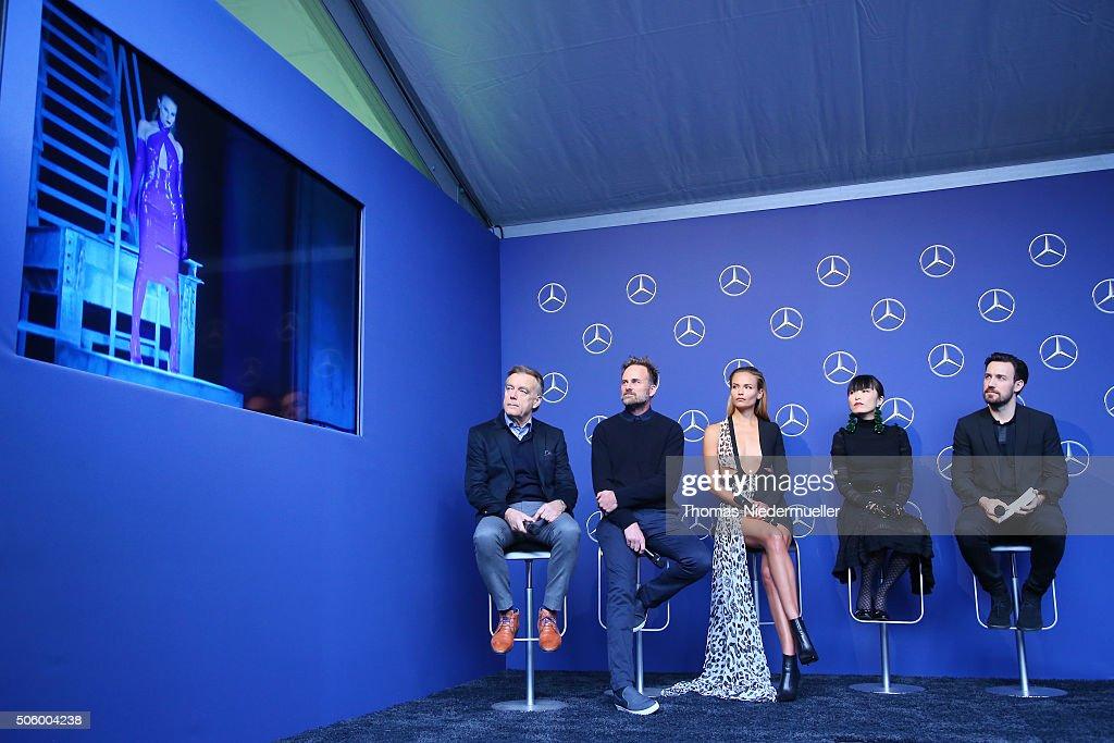 Wolfgang Schattling, Jeff Bark, Natasha Poly, Atsuko Kudo and Jan Koeppen attend the Mercedes-Benz Fashion Talk during the Mercedes-Benz Fashion Week Berlin Autumn/Winter 2016 at Brandenburg Gate on January 21, 2016 in Berlin, Germany.