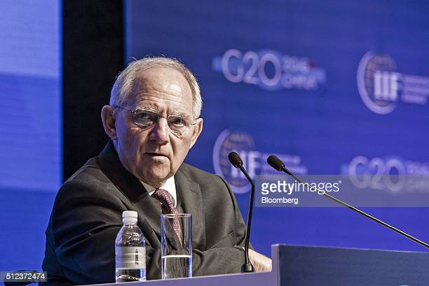 Wolfgang Schauble Germany's finance minister speaks during the Institute of International Finance G20 Conference in Shanghai China on Friday Feb 26...