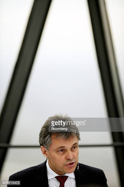 Wolfgang Schreiber chief executive officer of Bentley Motors Ltd speaks during a news conference to announce the company's financial results in...