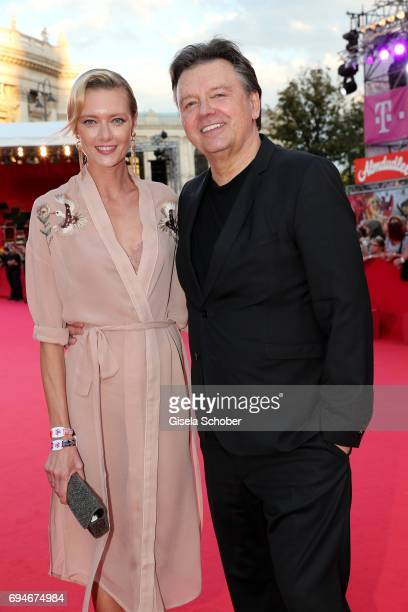 Wolfgang Schwarz and model Anastassija Makarenko girlfriend of Mickey Rourke during the Life Ball 2017 at City Hall on June 10 2017 in Vienna Austria