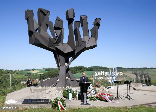 Wolfgang Sobotka President of the Austrian National Council gives a speech during ceremonies marking the Nazi defeat in World War II and honouring...