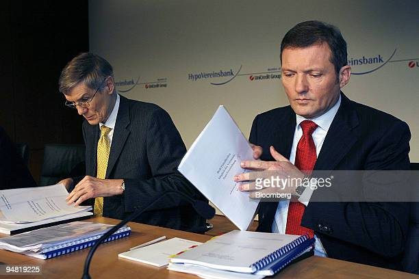 Wolfgang Sprissler HypoVereinsbank chief executive officer left and Rolf Friedhofen chief financial officer right are seen during the annual press...