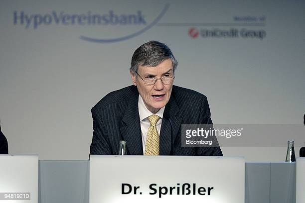 Wolfgang Sprissler HypoVereinsbank chief executive officer speaks during the annual press conference in Munich Germany Thursday March 23 2006 HVB...