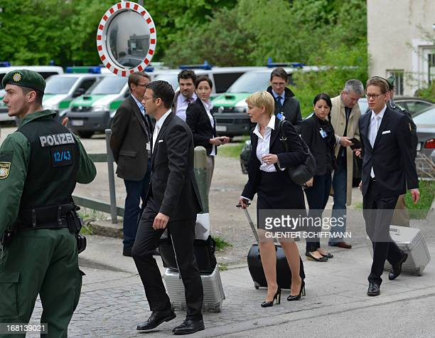 Wolfgang Stahl Anja Sturm and Wolfgang Heer the lawyers of Beate Zschaepe charged with complicity in the murders of eight ethnic Turks a Greek...