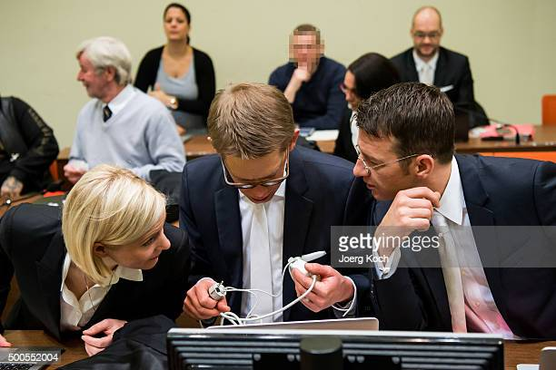 Wolfgang Stahl Wolfgang Heer and Anja Sturm old lawyers of Beate Zschaepe the main defendant in the NSU neoNazi murder trial prepare for the start of...