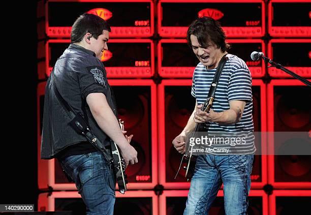 Wolfgang Van Halen and Eddie Van Halen of Van Halen perform at Madison Square Garden on March 1, 2012 in New York City.