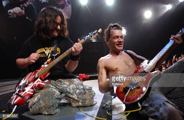 Wolfgang Van Halen and Eddie Van Halen of Van Halen