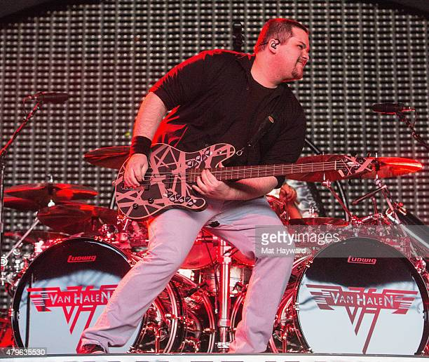 Wolfgang Van Halen of Van Halen performs on stage at White River Amphitheater on July 5, 2015 in Auburn, Washington.