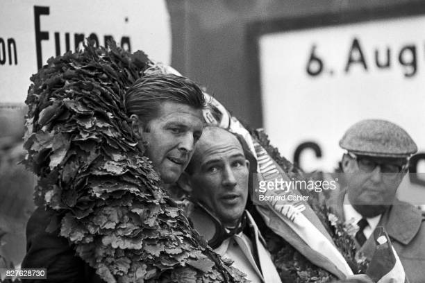 Wolfgang von Trips, Stirling Moss, Grand Prix of Germany, Nurburgring, 06 August 1961. Stirling Moss, winner of the German Grand Prix, with second...