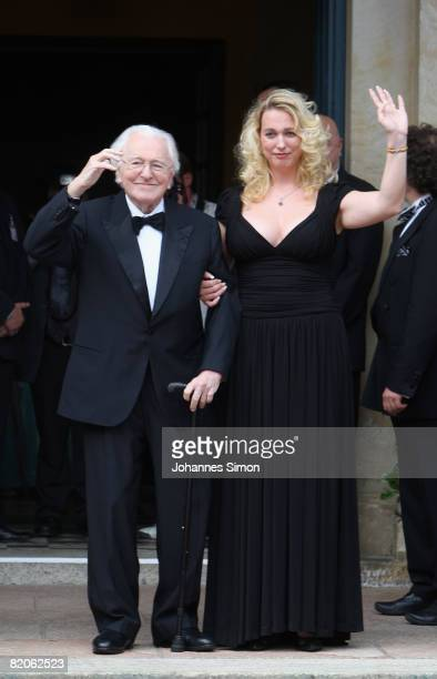 Wolfgang Wagner and his grand daughter Katharina Wagner arrive for the Richard Wagner Festival on July 25 2008 in Bayreuth Germany