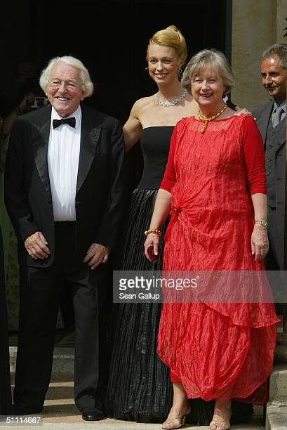 Wolfgang Wagner General Director of the Richard Wagner Festival his daughter Katharina and his wife Gudrun arrive for the opening performance of...