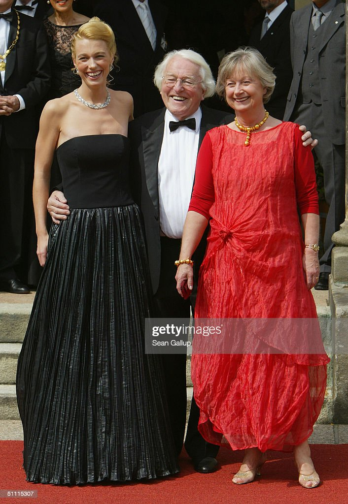 Wolfgang Wagner, General Director of the Richard Wagner Festival, his daughter Katharina and his wife Gudrun arrive for the opening performance of Richard Wagner's 'Parsifal' July 25, 2004 on the first day of the 93rd Richard Wagner Festival in Bayreuth, Germany.