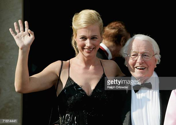 Wolfgang Wagner grandson of the German composer Richard Wagner and director of the Bayreuth Festival poses with Katharina Wagner prior to the opening...