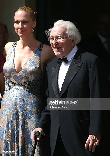 Wolfgang Wagner grandson of the German composer Richard Wagner and director of the Bayreuth Festival and his daughter Katharina arrive for the...
