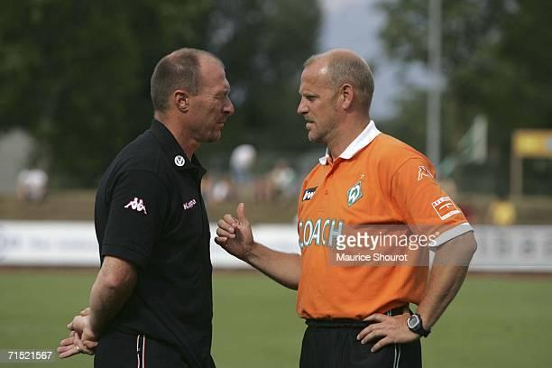 Wolfgang Wolf Coach of Kaiserslautern talks to Thomas Schaaf coach of Werder Bremen before the friendly match between Werder Bremen and FC...