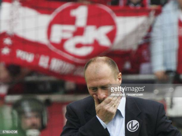 Wolfgang Wolf headcoach of Kaiserslautern looks dejected after being relegated with his team after the Bundesliga match between VFL Wolfsburg and 1FC...