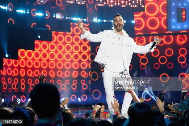 Wolfine performs on stage with Los Polinesios during the Nickelodeon Kids' Choice Awards Mexico 2018 at Auditorio Nacional on August 19 2018 in...