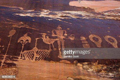 Wolfman Petroglyph Panel in Butler Wash, Comb Ridge, UT