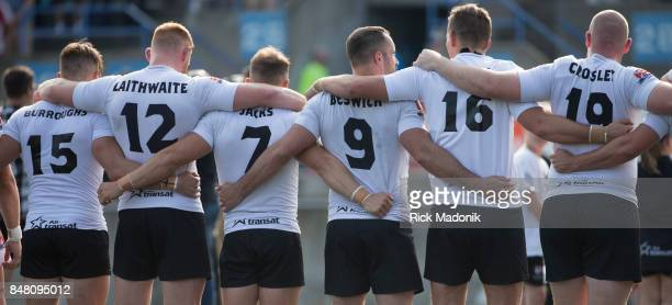 Wolfpack line up prior to the start of the game The Toronto Wolfpack ist half action as they host the final home game of the inaugural season against...