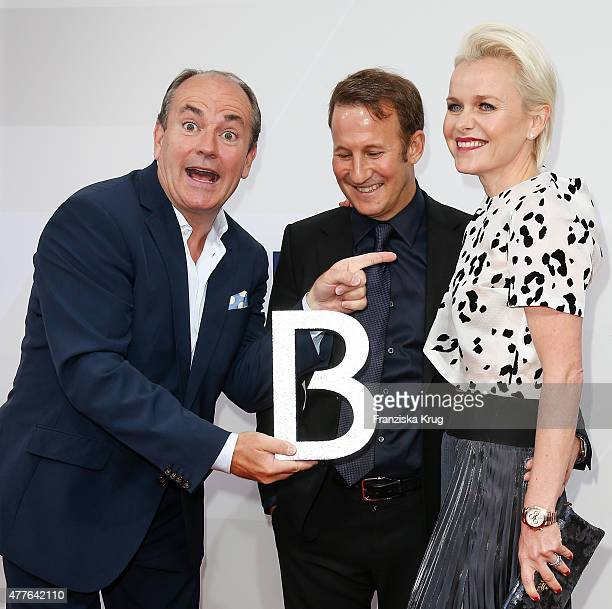 Wolfram Kons Adam Waldman and Barbara Sturm attend the Bertelsmann Summer Party on June 18 2015 in Berlin Germany