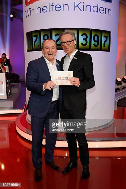 Wolfram Kons and Frank Hoffmann are seen in the studio of the RTL Telethon TV show on November 25 2016 in Cologne Germany The telethon is held every...