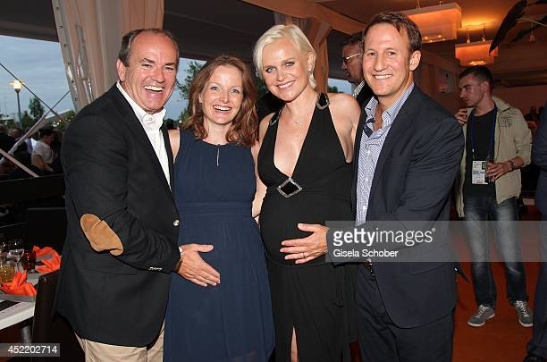 Wolfram Kons and his pregnant wife Alexa Kons Barbara Sturm and her husband Adam Waldman attend the CHIO 2014 media night on July 15 2014 in Aachen...