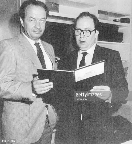 Wolf-Ruediger Hess, son of the last war-criminal in Spandau prison Rudolf Hess, in Stern Magazine office here 4/27 with editor Gerd Heidemann . Hess...