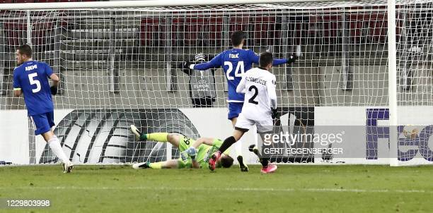 Wolfsberg's goalkeeper Manuel Kuttin fails to save the ball as Zagreb scores the 0-3 during the UEFA Europa League group K football match Wolfsberg v...