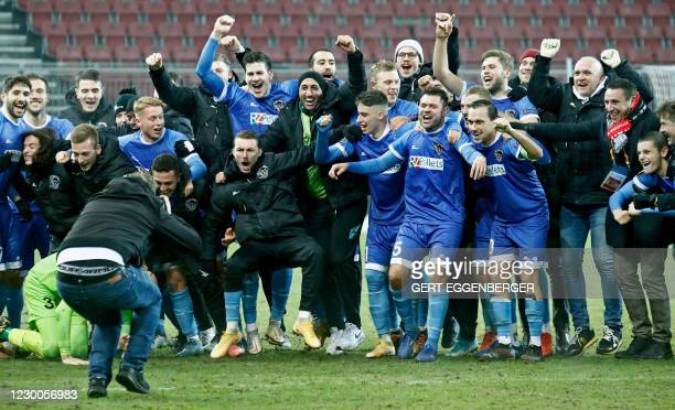 Wolfsberg's players celebrate their 1-0 win after the UEFA Europa League Group K football match between Wolfsberg and Feyenoord in Klagenfurt,...