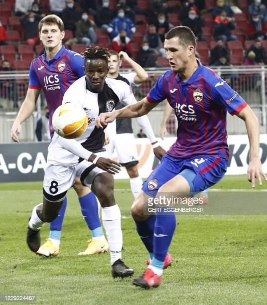 Wolfsberg's Senegalese forward Cheikhou Dieng and CSKA Moscow's Russian defender Viktor Vasin vie for the ball during the UEFA Europa League Group K...