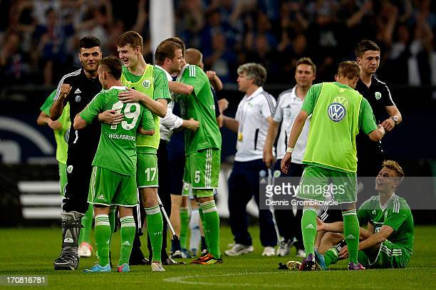 Wolfsburg players celebrate after winning the A Juniors Championships semifinal second leg match between Schalke 04 and VfL Wolfsburg at...