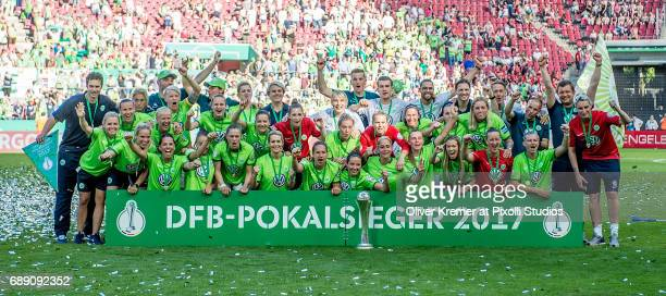 Wolfsburg posing for the press after wiining the DFB cup during the Women's DFB Cup Final 2017 between SC Sand and VfL Wolfsburg at...