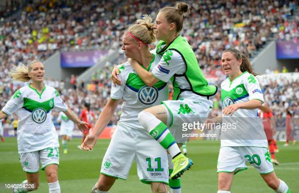 Wolfsburg's Alexandra Popp celebrating the 11 during the Womens Champions League soccer finale between VfL Wolfsburg and Olympique Lyon at Stadio...
