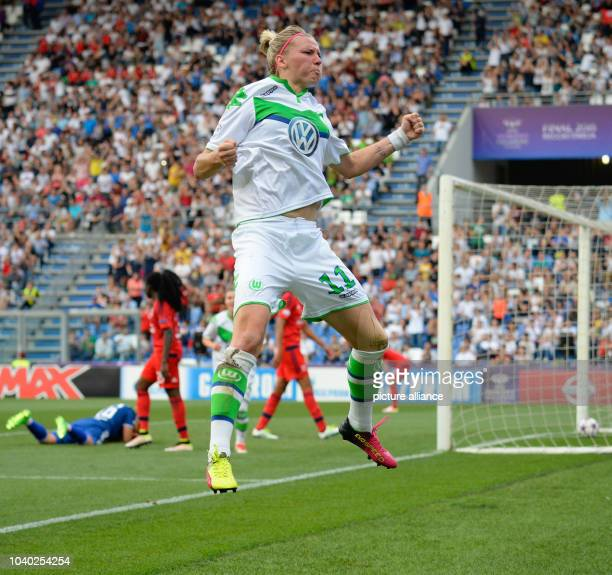 Wolfsburg's Alexandra Popp celebrating the 11 goal during the Womens Champions League soccer finale between VfL Wolfsburg and Olympique Lyon at...