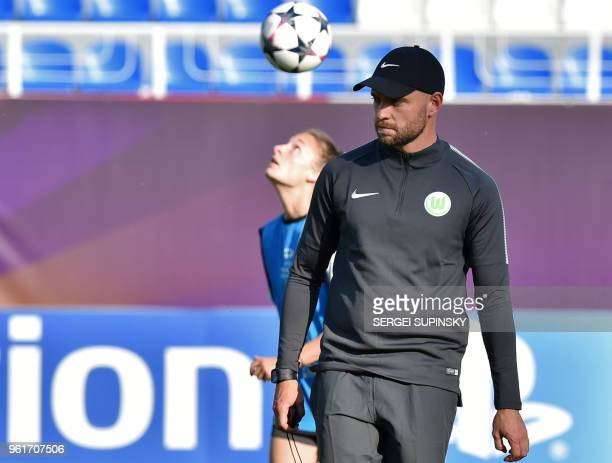 Wolfsburg's coach Stephan Lerch looks at his players during a training session at the Valeriy Lobanovsky Stadium in Kiev on May 23 on the eve of the...
