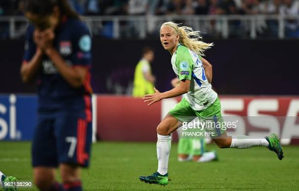 Wolfsburg's Danish forward Pernille Harder celebrates after scoring during the UEFA Women's Champions League final football match Vfl Wolfsburg vs...